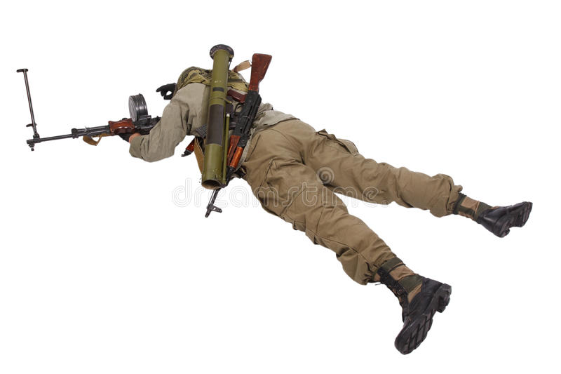 Buntownik z maszynowym pistoletem zdjęcia royalty free