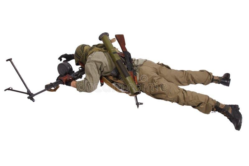 Buntownik z maszynowym pistoletem obraz stock