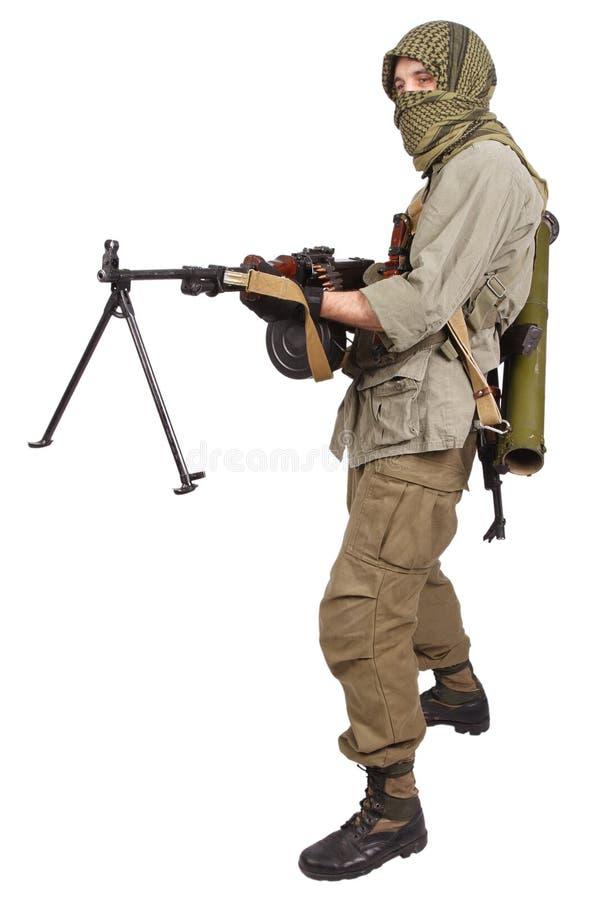 Buntownik z maszynowym pistoletem obrazy stock