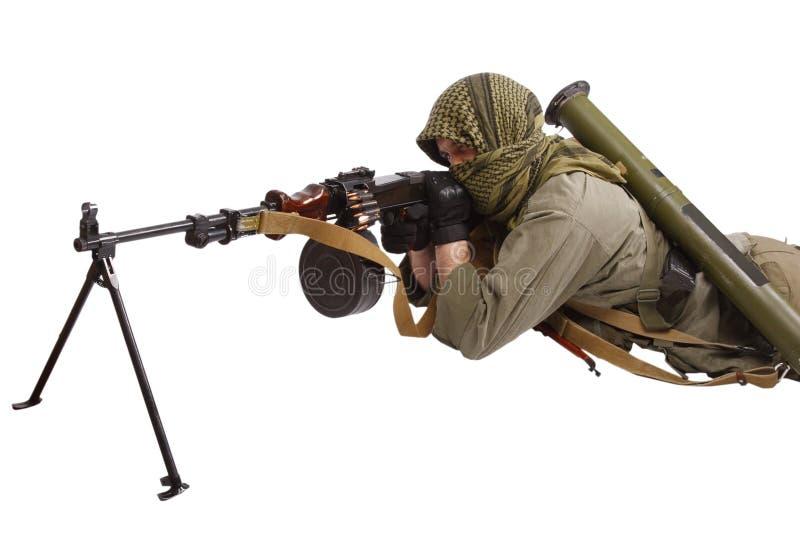 Buntownik z maszynowym pistoletem zdjęcia stock