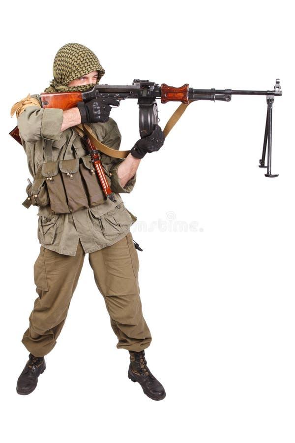 Buntownik z maszynowym pistoletem fotografia stock