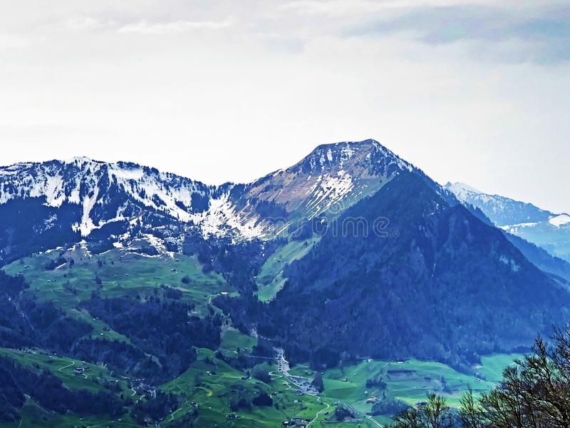 Buochserhorn summit in the Swiss Prealps mountain range. Canton of Nidwalden, Switzerland royalty free stock photography