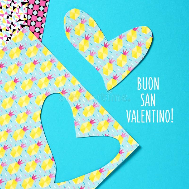 Buon圣华伦泰,愉快的情人节用意大利语 库存图片