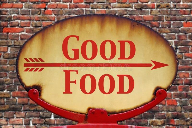Buon alimento del retro segno immagine stock