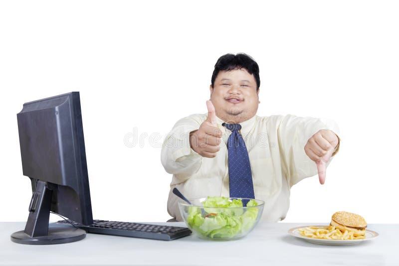 Buon alimento e cattivo alimento fotografie stock
