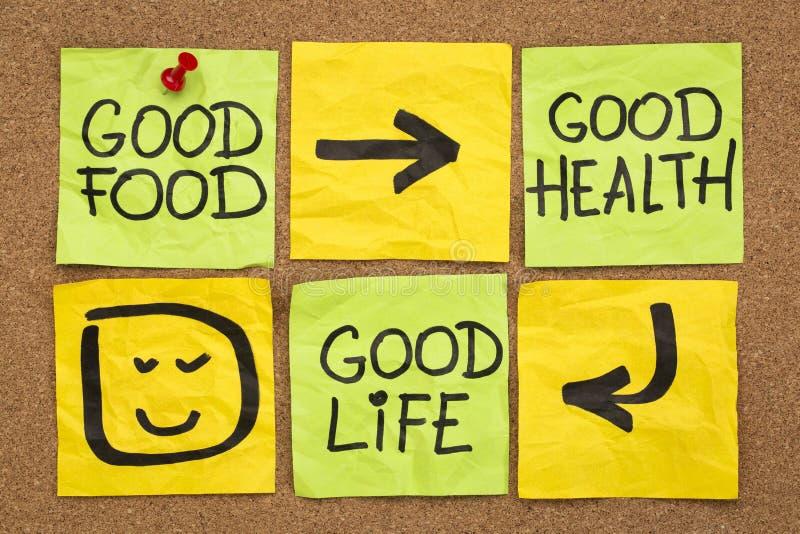Buon alimento, salute e vita immagini stock