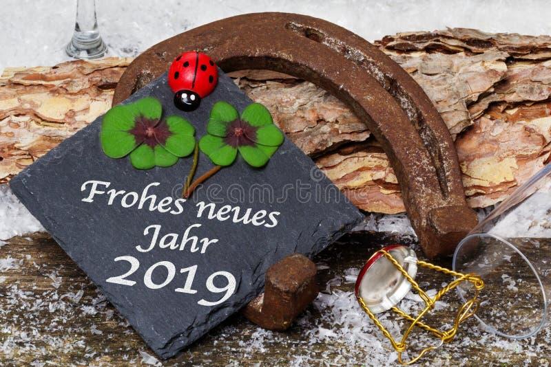 Buon anno 2019, cartolina d'auguri, fotografia stock