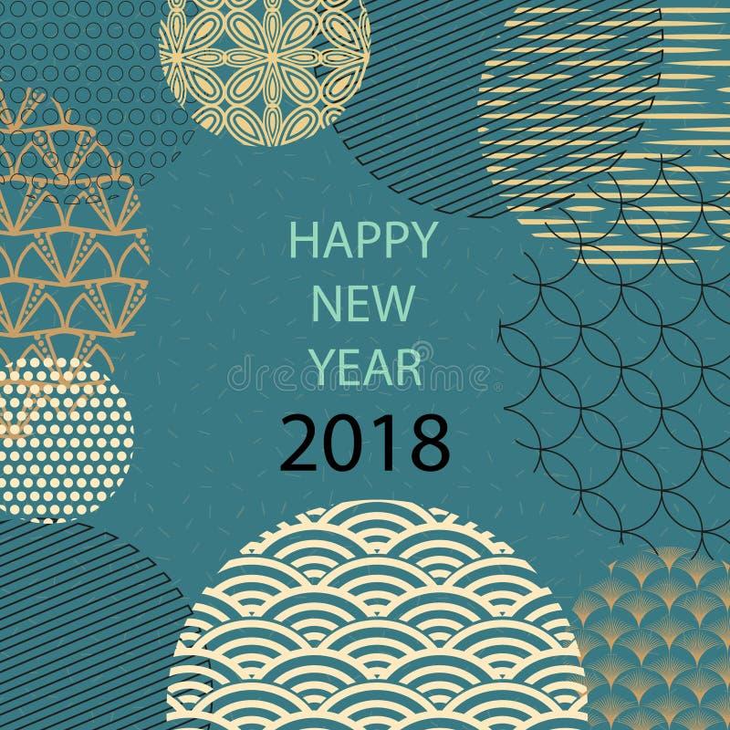Buon anno 2018 Cartolina d'auguri del modello nello stile orientale Cinese, elementi giapponesi Fondo verde illustrazione di stock