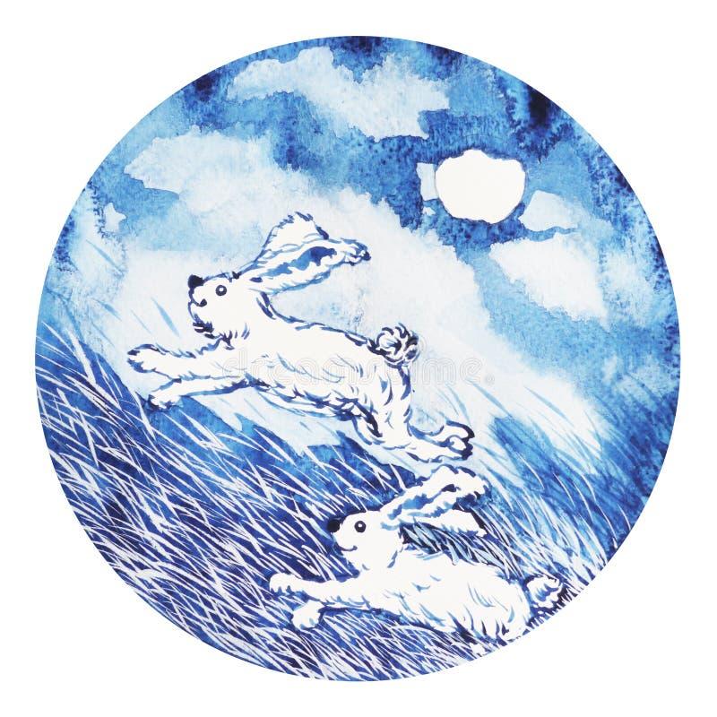 Buon anno cinese dello zodiaco del coniglio, acquerello che dipinge minimo illustrazione vettoriale
