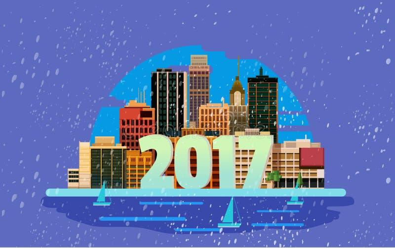 Buon anno in città Elemento di progettazione della cartolina d'auguri di vettore illustrazione vettoriale
