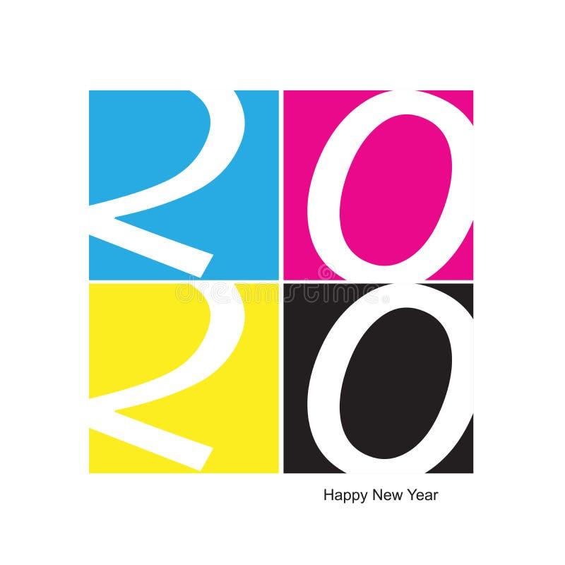 2020 Buon anno CMYK Stampa illustrazione vettoriale royalty illustrazione gratis