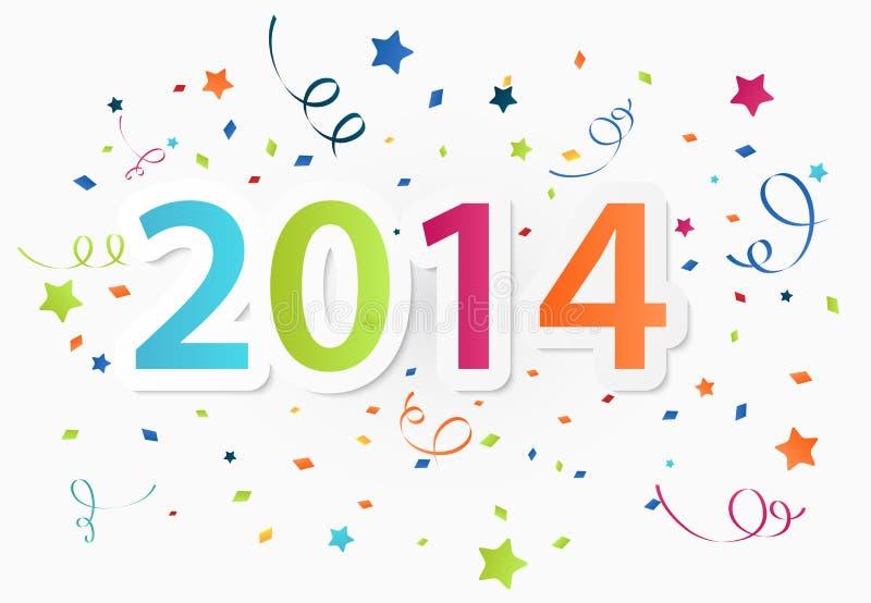 Buon anno 2014 con il fondo variopinto di celebrazione illustrazione vettoriale