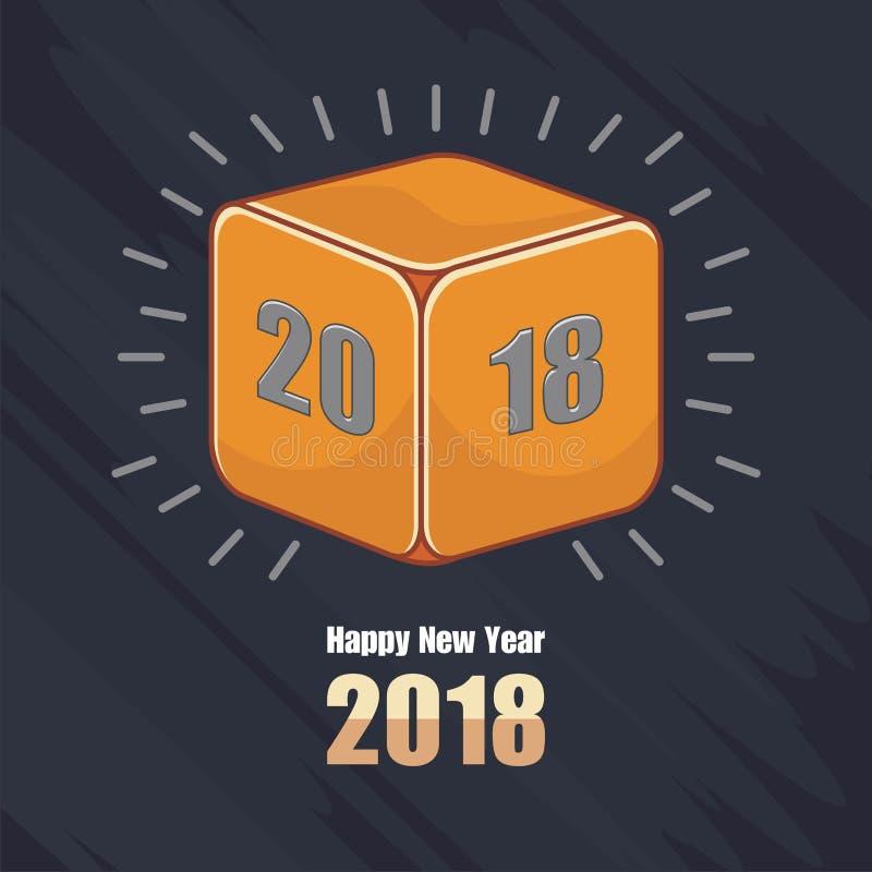 Buon anno 2018 con progettazione arancio dei dadi illustrazione di stock