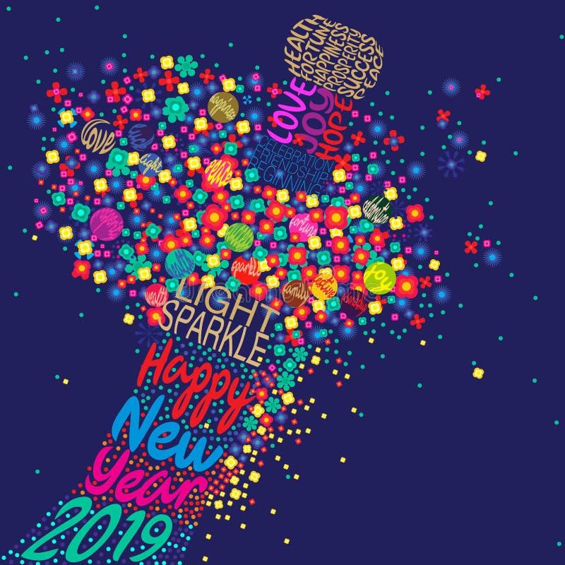 Buon anno 2019 con un'esplosione floreale royalty illustrazione gratis