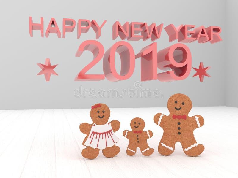 Buon anno 2019 della carta di festa con i biscotti su un backgro bianco illustrazione di stock