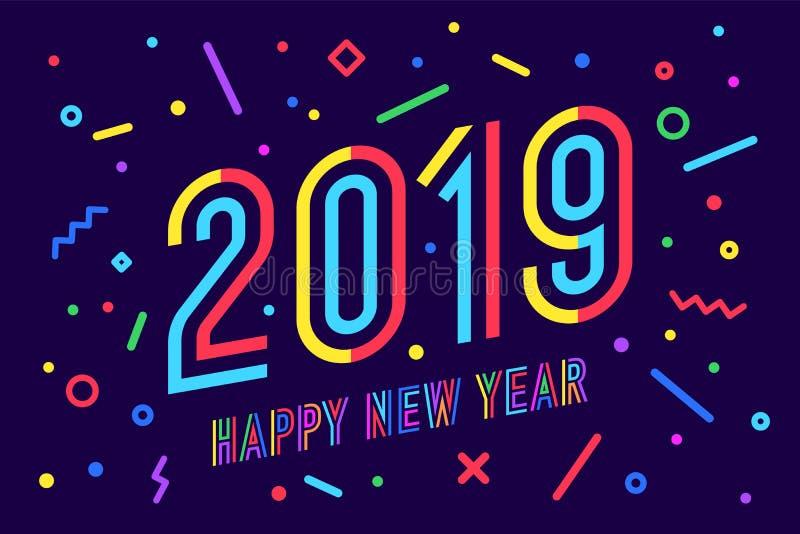 2019, buon anno Buon anno 2019 della cartolina d'auguri illustrazione vettoriale