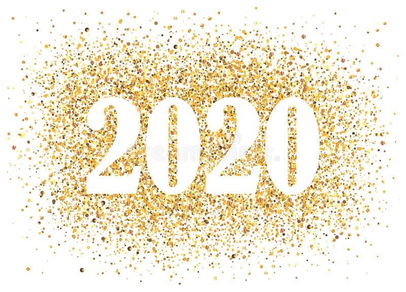 2020 Buon anno di background con il numero di glitter dorato Design delle vacanze invernali di Natale Biglietto di auguri stagion illustrazione di stock