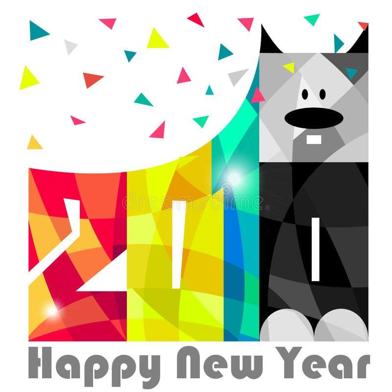Buon anno 2018 Anno di cane Progettazione della cartolina d'auguri Vettore ENV 10 royalty illustrazione gratis