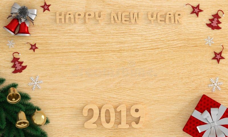 Buon anno di legno 2019 sul pavimento per il modello, rappresentazione 3d immagini stock libere da diritti
