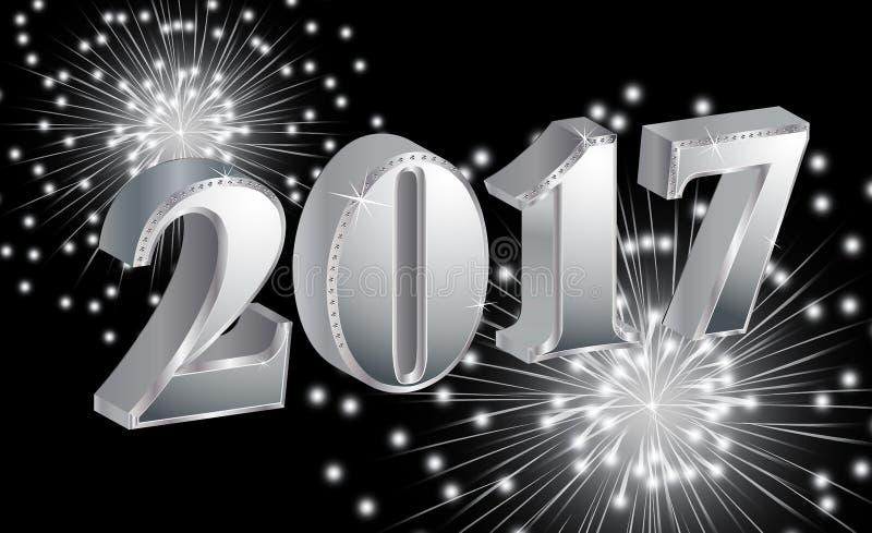 Buon anno di lusso 2017 con i fuochi d'artificio su fondo nero illustrazione di stock