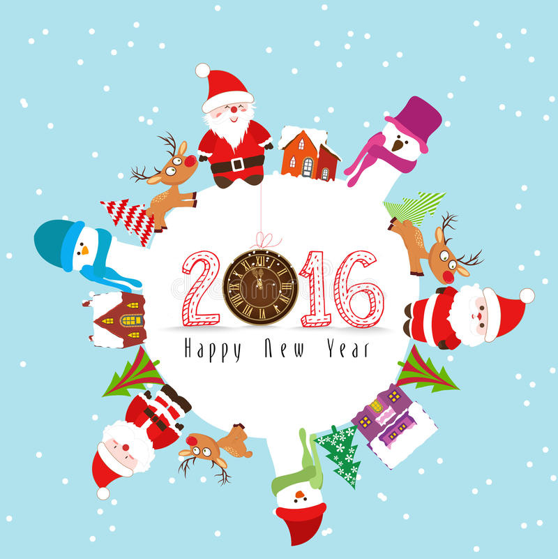 Buon anno 2016 e Buon Natale illustrazione di stock