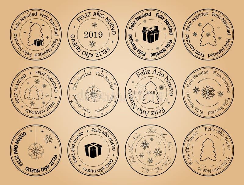 Buon anno e Buon Natale - bolli spagnoli dell'affrancatura di vettore illustrazione di stock