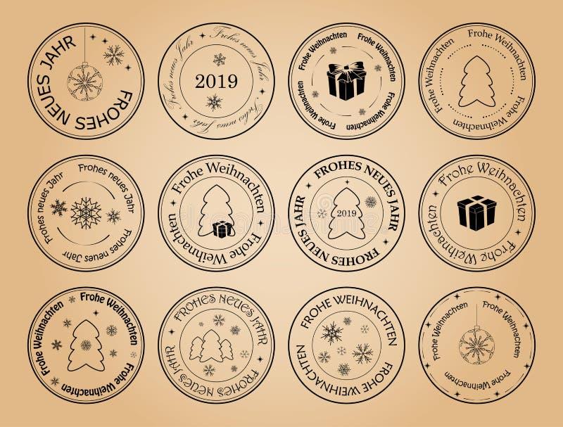 Buon anno e Buon Natale - francobolli di vettore con i fiocchi di neve su tedesco royalty illustrazione gratis
