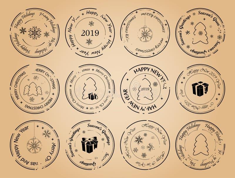 Buon anno e Buon Natale - francobolli di vettore di lerciume illustrazione vettoriale