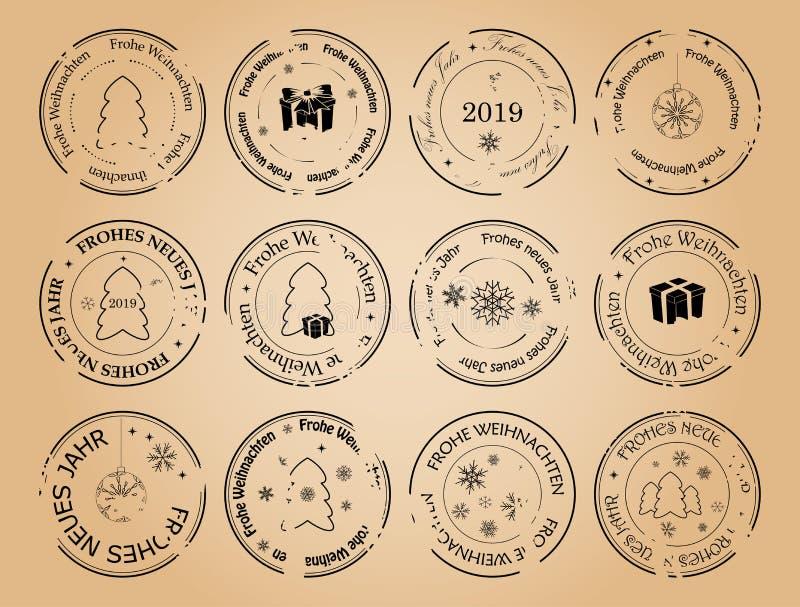 Buon anno e Buon Natale - francobolli di vettore di lerciume con i fiocchi di neve su tedesco illustrazione di stock