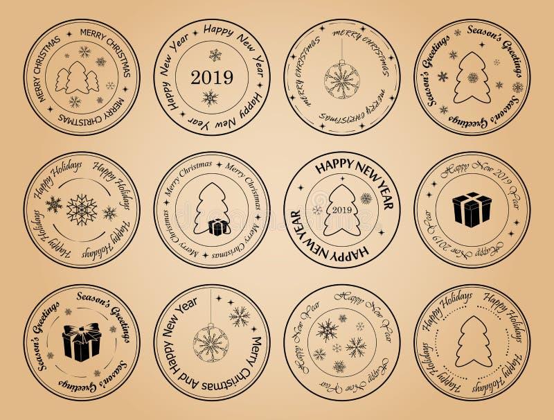 Buon anno e Buon Natale - intorno ai francobolli di vettore illustrazione vettoriale