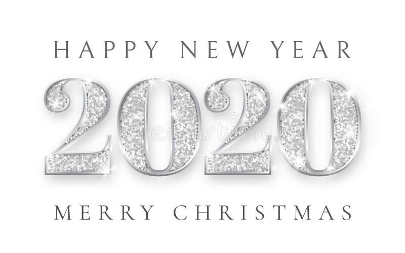 Buon anno e sposare il Natale 2020, progettazione d'argento della cartolina d'auguri, natale, illustrazione di numeri di vettore royalty illustrazione gratis