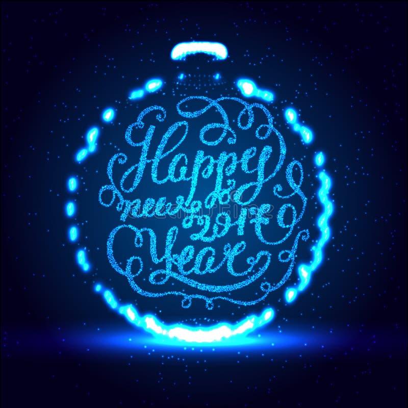 Buon anno ENV 10 Illustrazione di vettore di festa Composizione brillante nell'iscrizione con le stelle e le scintille illustrazione vettoriale