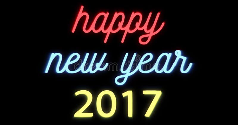Buon anno 2017, insegna al neon tremula di lampeggiamento su fondo nero illustrazione vettoriale