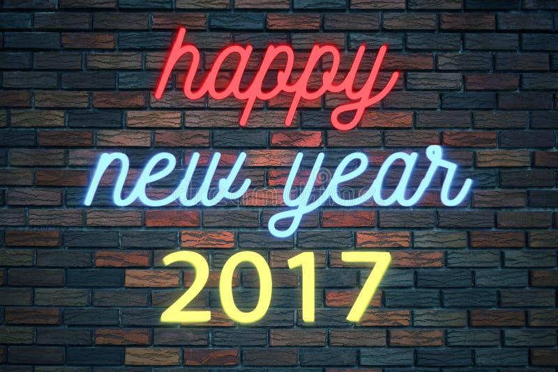 Buon anno 2017, insegna al neon tremula di lampeggiamento sul fondo del muro di mattoni royalty illustrazione gratis