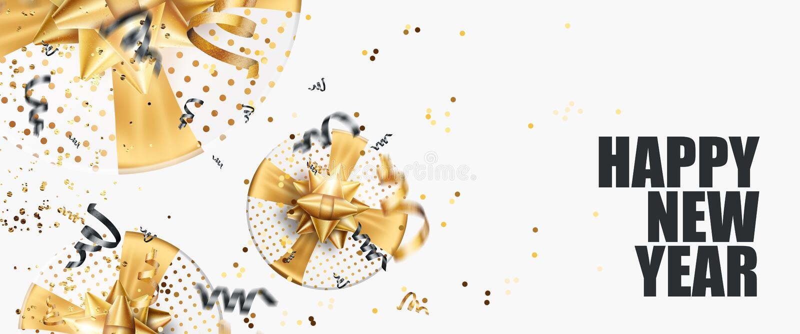 Buon anno 2020 logo flyer su fondo bianco Design in oro nero Modello di struttura dell'opuscolo, scheda, banner illustrazione 3D, illustrazione vettoriale