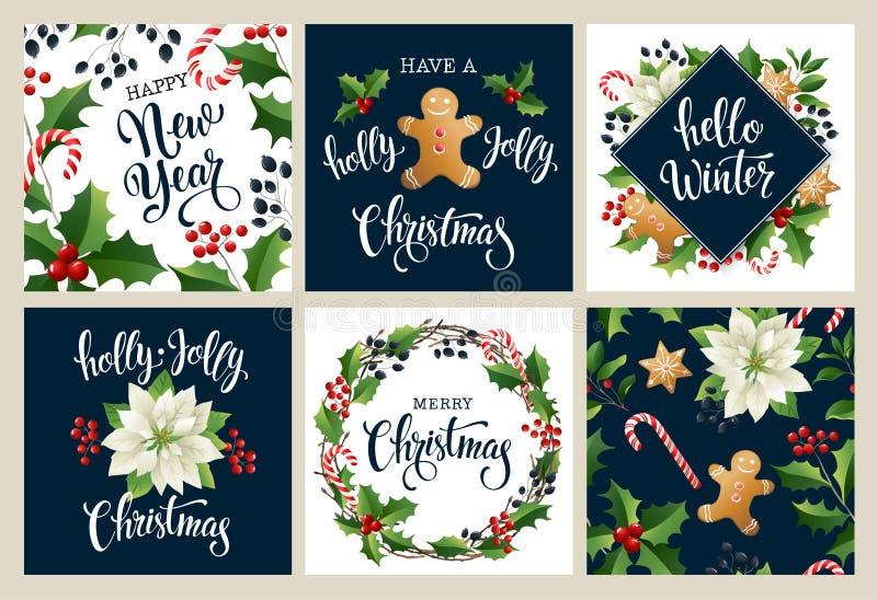 Buon anno 2019 Buon Natale bianco e collors neri Progetti per il manifesto, la carta, l'invito, il cartello, il flayer, opuscolo  illustrazione di stock