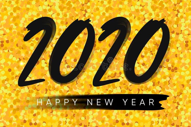 Buon anno 2020 Buon Natale Sfondo di vetro d'oro Illustrazione vettoriale immagini stock libere da diritti