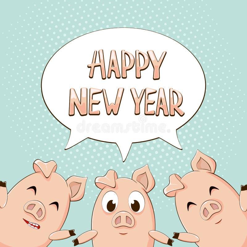 Buon anno nel fumetto con tre maiali sul backgrou blu illustrazione di stock