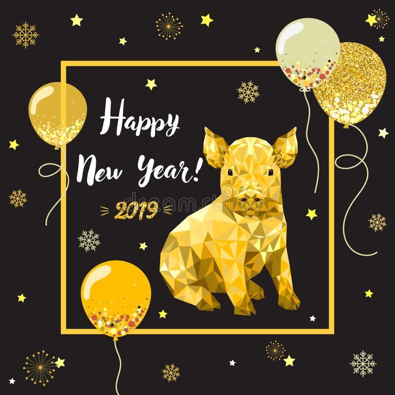 Buon anno 2019, nuovo anno cinese, progettazione che digrigna carta con il maiale immagini stock libere da diritti