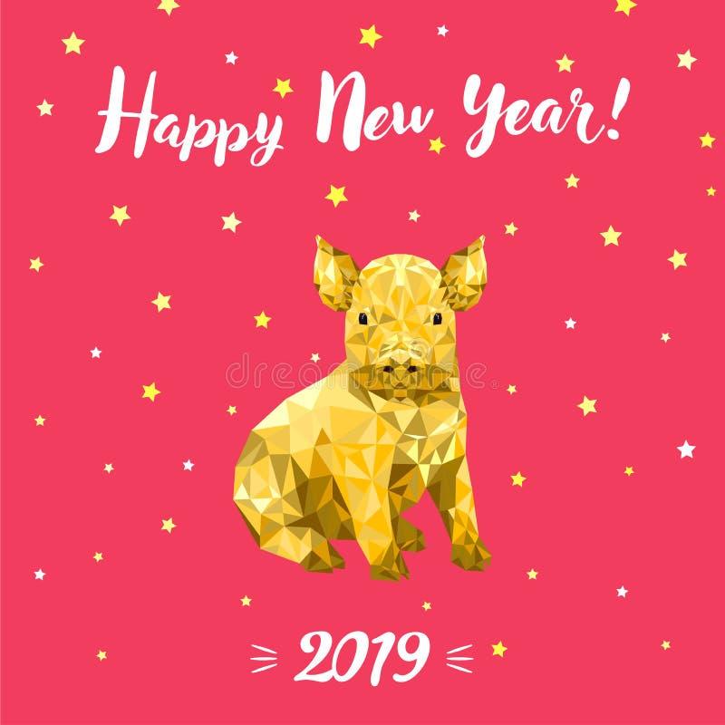 Buon anno 2019, nuovo anno cinese, progettazione che digrigna carta con il maiale immagine stock