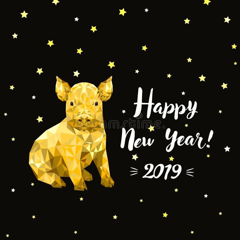 Buon anno 2019, nuovo anno cinese, progettazione che digrigna carta con il maiale immagine stock libera da diritti