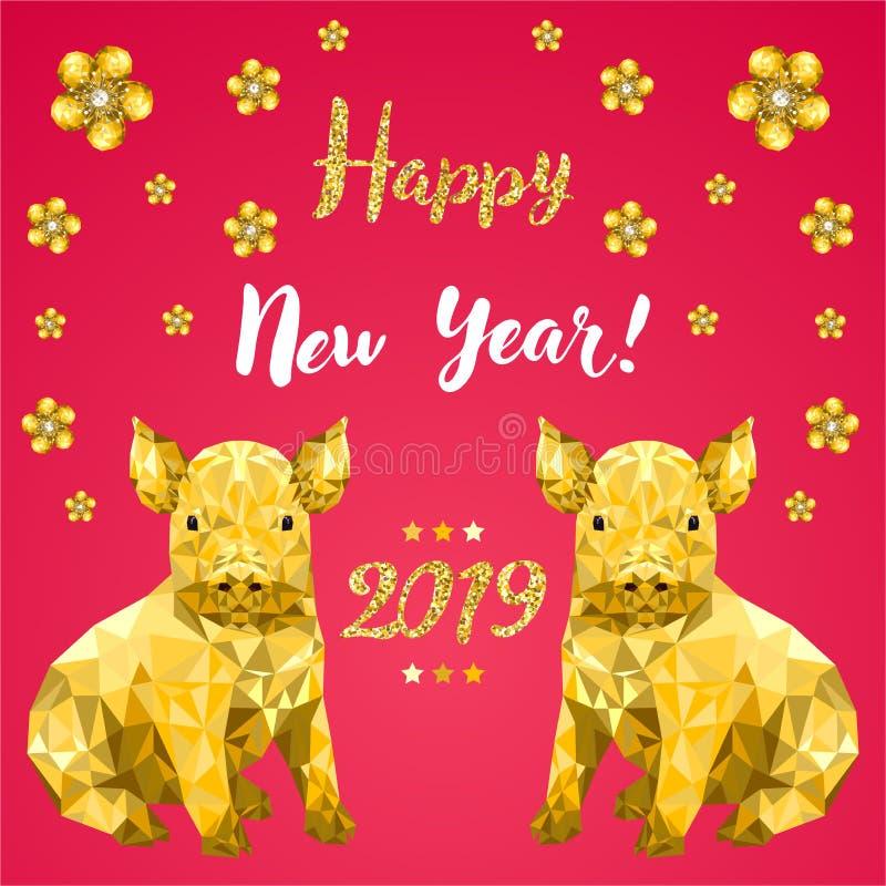 Buon anno 2019, nuovo anno cinese, progettazione che digrigna carta con il maiale fotografia stock libera da diritti