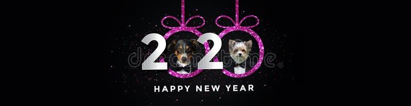 Buon anno nuovo 2020 con due cani Pink Panorama royalty illustrazione gratis