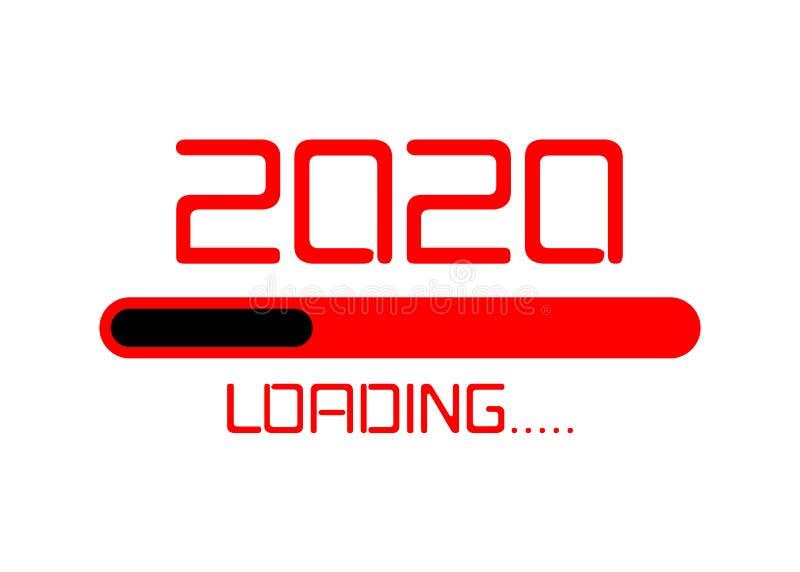 Buon anno nuovo 2020 con l'icona a forma di neon rosso piatto La barra di avanzamento digitale sta per arrivare a Capodanno Isola illustrazione di stock