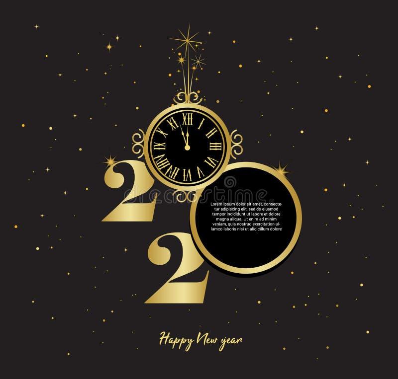 Buon anno nuovo 2020 - Nuovo anno luminoso in background con orologio d'oro illustrazione vettoriale royalty illustrazione gratis