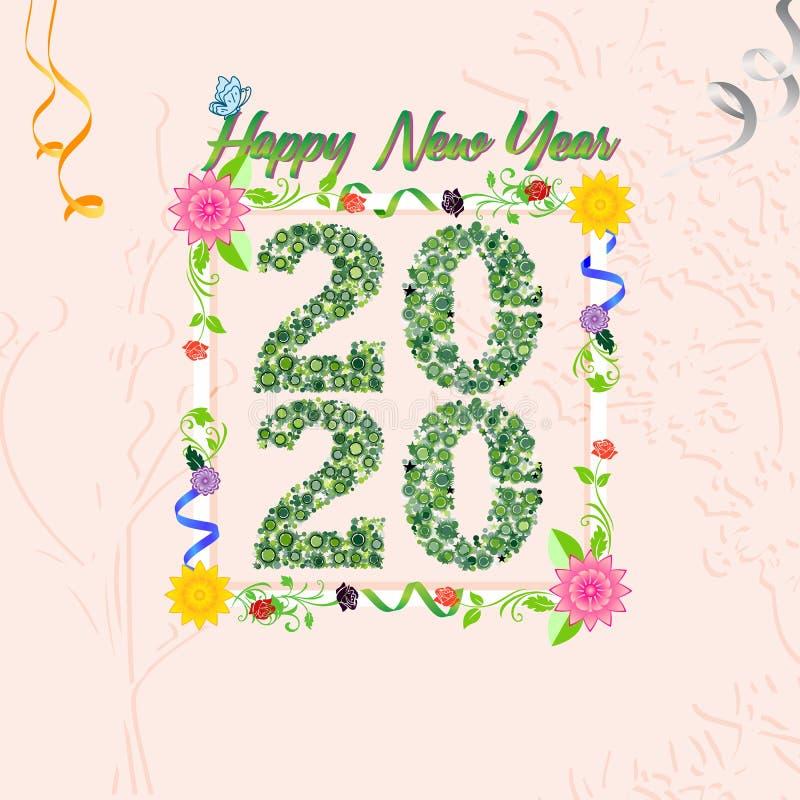 Buon anno nuovo 2020 Nuove idee innovative cartelloni e striscioni per le festività del nuovo anno Illustrazione vettoriale con f illustrazione vettoriale