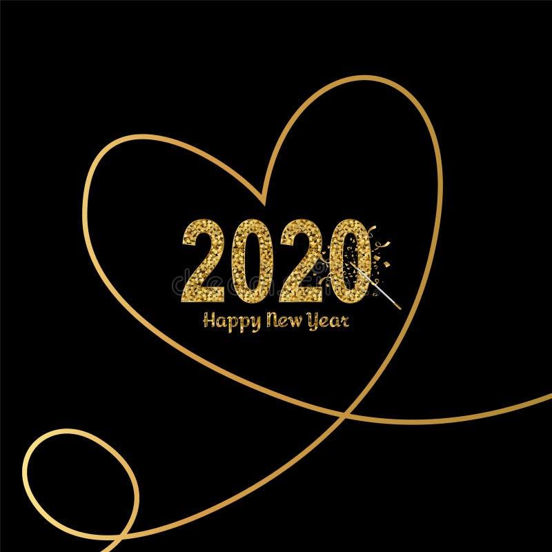Buon anno oro 2020 con cuori in linee di disegno continue e bacchetta magica Design dorato luminoso con royalty illustrazione gratis