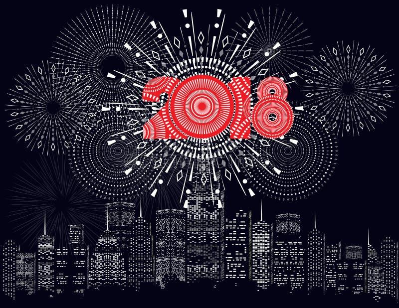 Buon anno 2018 scritto con il fuoco d'artificio della scintilla e principale illustrazione di stock