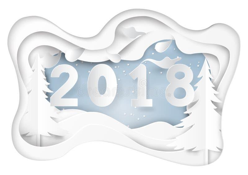 Buon anno 2018 su neve e sulla stagione invernale royalty illustrazione gratis