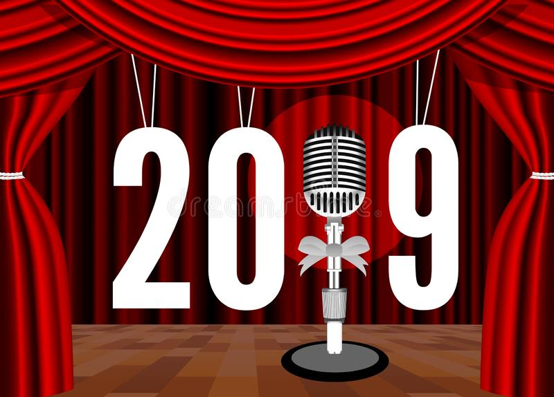 Buon anno 2019 sui precedenti della fase con un microfono illustrazione vettoriale